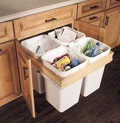 Explore Merillat Cabinets, your preferred source for exquisite kitchen and bath cabinets and accessories, design insipiration, and useful space planning tools. Types Of Kitchen Cabinets, Kitchen Drawers, Diy Cabinets, Bathroom Cabinets, Kitchen Storage, Pantry Cabinets, Recycling Storage, Recycling Center, Recycling Station