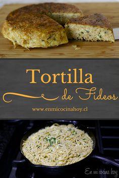 Tortilla de fideos, receta chilena Chilean Recipes, Italian Recipes, Mexican Food Recipes, Real Food Recipes, Chilean Food, Ethnic Recipes, Pasta Recipes, Salad Recipes, Healthy Fridge