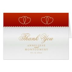 #wedding #thankyoucards - #Deep Red and Gold Hearts - Thank You Card