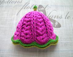 Handmade Crochet hot pink Baby girls HAT, fancy pattern hat for Newborn Girl, PREMIE, NEWBORN - 6 Months, hot pink hat with green line by ramutez on Etsy