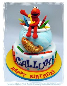 Elmo Loves His Goldfish And His Crayons Too! - by paulinescakes @ CakesDecor.com - cake decorating website