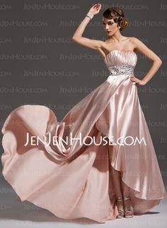 A-Line/Princess Sweetheart Asymmetrical Charmeuse Prom Dress With Ruffle Beading (018021105) - JenJenHouse