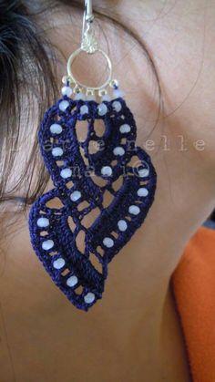 NICE Crochet Earing Design.. Orecchini crochet in makó blu navy e pietre dure