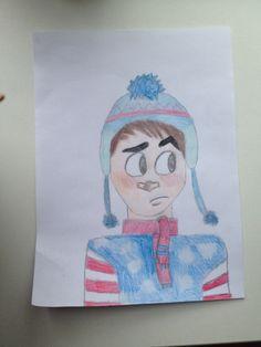 Cute winter boy drawing