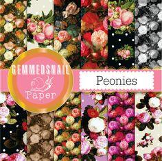 Peony digital paper 'peonies' flower backgrounds still life artists tribute digital paper set x 12