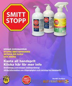 Viktig information om tillgänglighet av Smittstoppsortimentet och varning för Handsprit. Soap, Bar Soap, Soaps