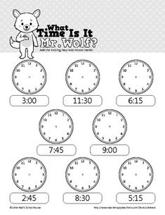WHAT TIME IS IT MR. WOLF? - TELLING TIME WORKSHEETS - :00, :15, :30 AND :45 - TeachersPayTeachers.com