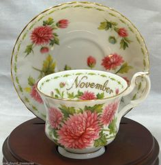 Teacup & Saucer Royal Albert Flower of the Month November Chrysanthemum England #Floral #RoyalAlbert