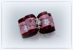 Maroon Satin Show Bow with Mauve Floral Satin by BellasDogBows, $8.99