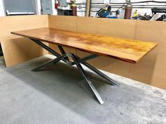 Modern Dining Table, Octopus - Diamond Design Steel Base With Heat Threaded Pine Reclaimed Wood Top