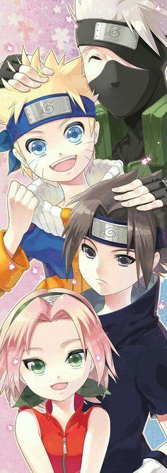 Team 7, Naruto, Sakura, Sasuke, Kakashi, cute; Naruto