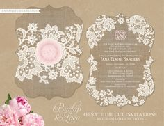 Ornate DieCut Burlap Lace Invitations for Any by AnnaHatcherDesign, $27.00