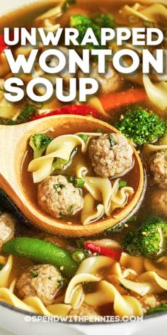 This Unwrapped Wonton Soup recipe is quick & easy. Use pork, chicken, or beef for the mini meatballs, or add shrimp! Recipes Using Meatballs, Mini Meatballs, Quick Soup Recipes, Cooking Recipes, Healthy Recipes, Asian Chopped Salad, Meatball Soup, Asian Soup, Asian Recipes