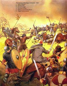 Bataille d'Hastings, 1066 ap JC. Illustration d'Angus Mc Bride.