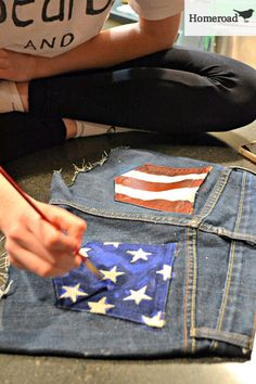 homeroad: Make Your Own American Flag Jean Shorts