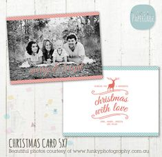 Christmas Card Template - Photoshop template - AC009 - INSTANT DOWNLOAD on Etsy, $8.00