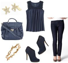 Star earrings, navy blue high heels,navy blue top, jeans,gold necklace, navy blue purse