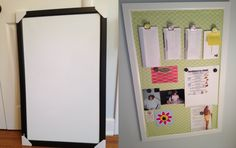 DIY - Plain Target dry erase/ magnet board bought on clearance.  Spray painted the frame, used fabric I already had and used adhesive spray to the back.  The fabric was thin to enable the magnetic quality of the board to still work.  I did buy some super strong magnets available at Office Max and they work great.