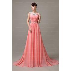 peach prom dress, 2015 prom dresses, long prom dress, unique prom dress, chiffon prom dress, custom prom dress