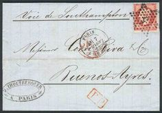 France, 7/MAR/1868 PARIS - ARGENTINA: complete folded letter franked by Yv.24 (Napoleon 80c. rose), cancelled by dotted star with numeral 5, sent to Buenos Aires via England, VF quality! Starting Price (11/2016): 45 EUR.