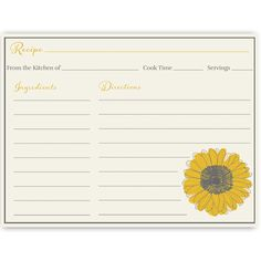 Have guests share recipes at your bridal shower with this bright and lovely recipe card featuring sunflowers on an ivory background.