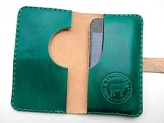 Leather Cell Phone Wallet Case with Pocket - Perfect for your iPhone 4, 4s - Jade Cove Green - Custom Order