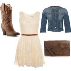 A bit of Cowgirl style. Boots, jean jacket and white dainty dress= perfection