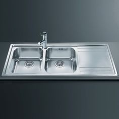 Rigae 2.0 double bowl, inset kitchen sink in stainless steel with right hand drainer. £179