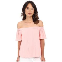 Rebecca Taylor Off Shoulder Gauze Top (Malibu Peach) Women's Blouse ($225) ❤ liked on Polyvore featuring tops, blouses, pink top, flutter sleeve blouse, short sleeve ruffle blouse, off shoulder blouse and ruffle sleeve top
