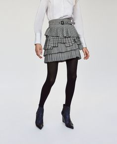 Checked pleated skirt by Zara