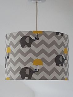 HANDMADE FABRIC LIGHTSHADE 30cm NURSERY KIDS ELEPHANT ZIG ZAG YELLOW GREY WHITE  #Unbranded #Country