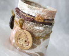 Fabric Mixed Media Jewelry Wrist Cuff Bracelet par Waterrose, $65.00
