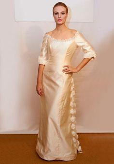 Graceful Ivory Off the Shoulder Flower Decorated Floor Length Satin Mother of Groom Dresses ,Mother of Bride Dresses,