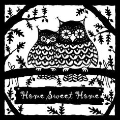 Home sweet home owls -Folk Art Paper cuts by Suzy Taylor