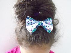 Flower print bow barrette Hair bow french by OneOfferJewelry