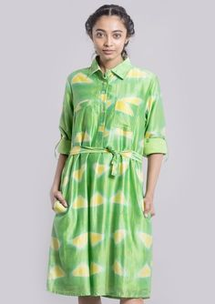 Buy  Clamp dyed shirt dress for Women in India at low price – Shop Hand Woven,Hand Printed , Hand Dyed Tunics and Dresses in Silk & Cotton  - Bunosilo.com This clamp dyed shirt dress has a belt around the waist and roll up sleeves. It is made out of chanderi fabric(Silk &cotton) and is vibrant and colourful.