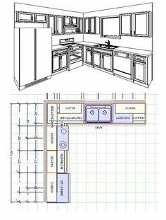 Kitchen Cabinet Layout 10 x 10 kitchen layout with . Small Kitchen Floor Plans, Small Kitchen Renovations, Kitchen Layout Plans, 10x10 Kitchen, Kitchen Cabinet Layout, Bathroom Floor Plans, Kitchen Room Design, Kitchen Interior, Kitchen Cabinetry
