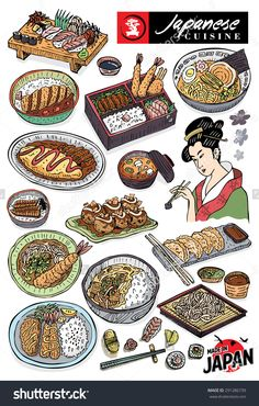 Hand drawn of Japanese food, vector Food Graphic Design, Food Design, Food Drawing, Drawing For Kids, Sushi Recipes, Real Food Recipes, Japanese Menu, Chibi Food, Food Sketch