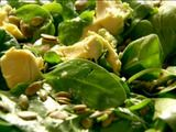 baby spinach, avocado & pumpkin seed salad (can be topped with slices of smoked salmon)