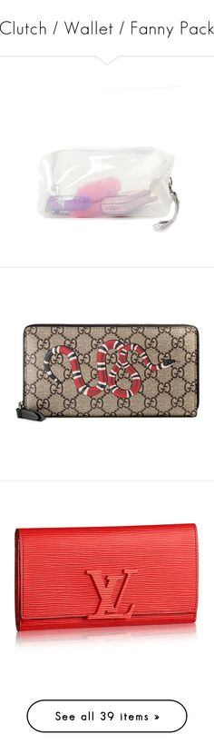 """""""Clutch / Wallet / Fanny Pack"""" by c-azmere ❤ liked on Polyvore featuring beauty products, beauty accessories, bags & cases, bags, fillers, accessories, toiletry kits, travel kit, travel toiletry case and wash bag"""