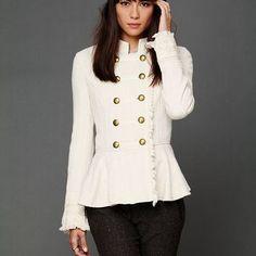 Free People Cableknit Peplum Jacket.. So Olivia Pope!!! Love it!