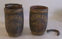antique buckets   Pair of antique American leather fire buckets R C Searle