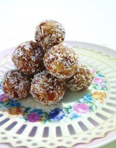 Date, walnut, and coconut energy truffles. So good and easy. Daniel Fast food.