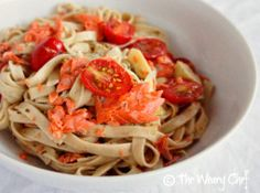 Pasta in White Wine Pesto Sauce - Add salmon or chicken to make it a one-dish dinner! by @TheWearyChef