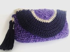 Crochet el embrague - bolso púrpura - embrague - único de noche crochet regalo hecho a mano - monedero lila –