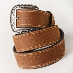 Classic Brown Tooled Belt - Accessories - National Cowboy Museum