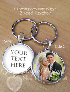 Custom Photo Custom Text key chain - Design Your Own keychain - 2 side – Jill Campa Designs - Now That's Personal!