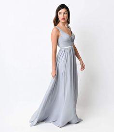 Silver Pleated Chiffon Illusion Deep V-Neck Dress