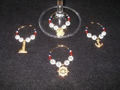 Coast Guard Stemware Wine Charms by LadyBeeDesigns on Etsy, $15.00