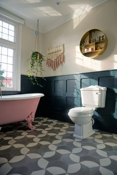 You want a pink WHAT? The battle for the pink bath - Come Down To The Woods Bathroom Design Small, Bathroom Layout, Bathroom Colors, Bathroom Interior, Tiny Bathrooms, Upstairs Bathrooms, Freestanding Bath With Shower, Pink Bathtub, Black White Bathrooms
